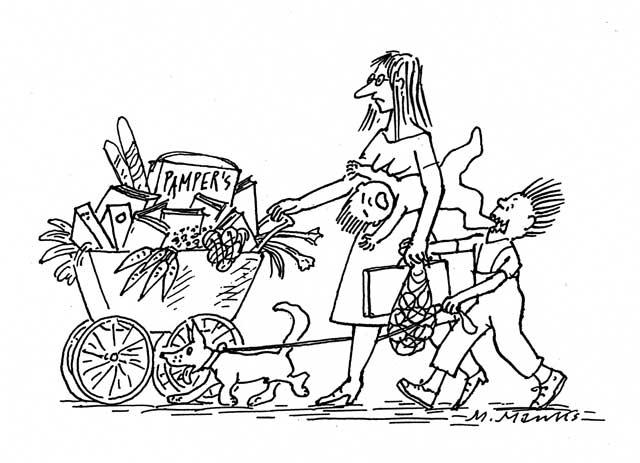 Alleinerziehende Mutter beim Einkauf