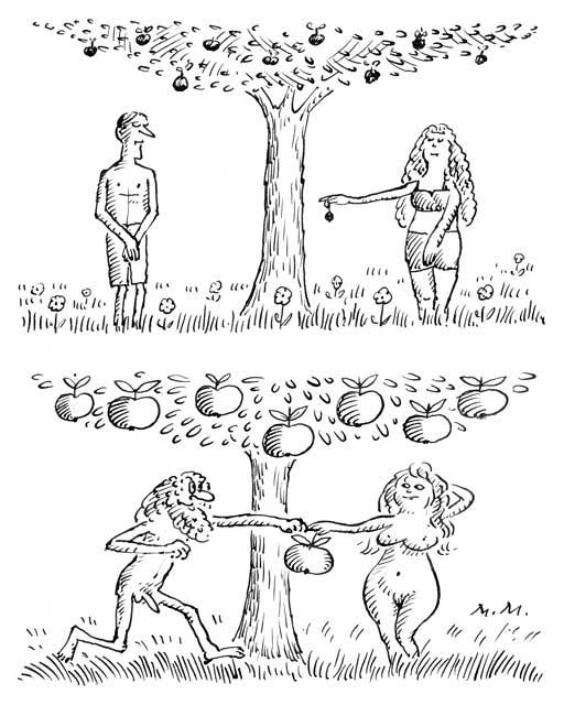 Apfelernte im Paradies (ohne und mit Insektizid)