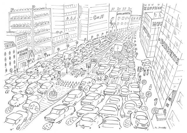 Autogerechte Stadt mit Erholungscenter