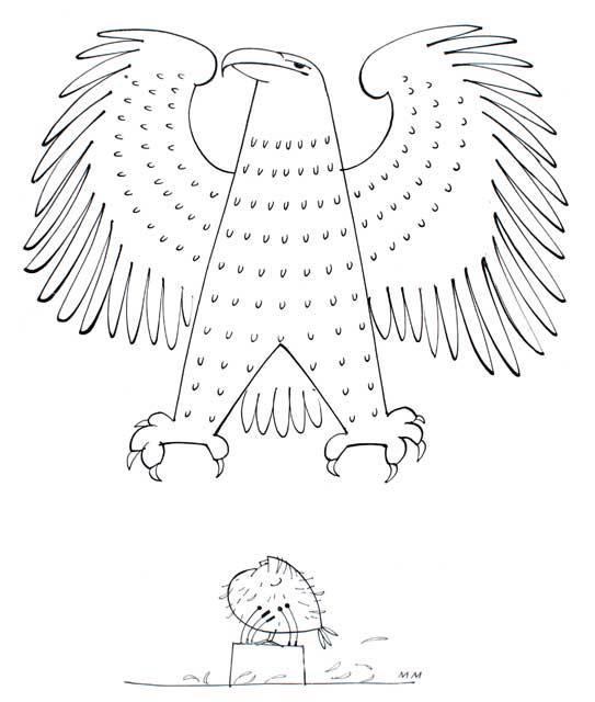 Gerupftes Huhn, von Greifvogel bedroht