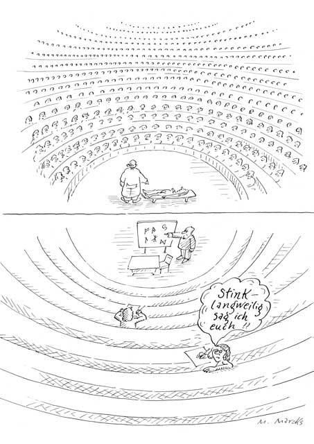 Großes und kleines Interesse in Hörsaal