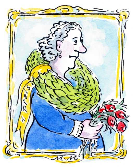 Großmutter mit Lorbeerkranz