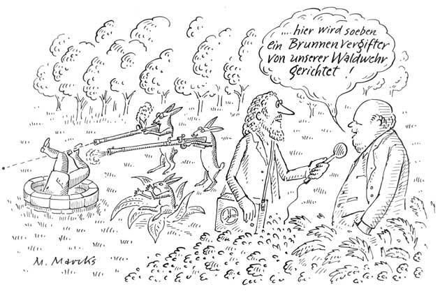 """""""… hier wird soeben ein Brunnenvergifter von unserer Waldwehr gerichtet!"""""""