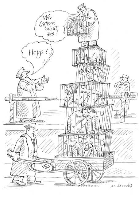 In Käfigen gefangen