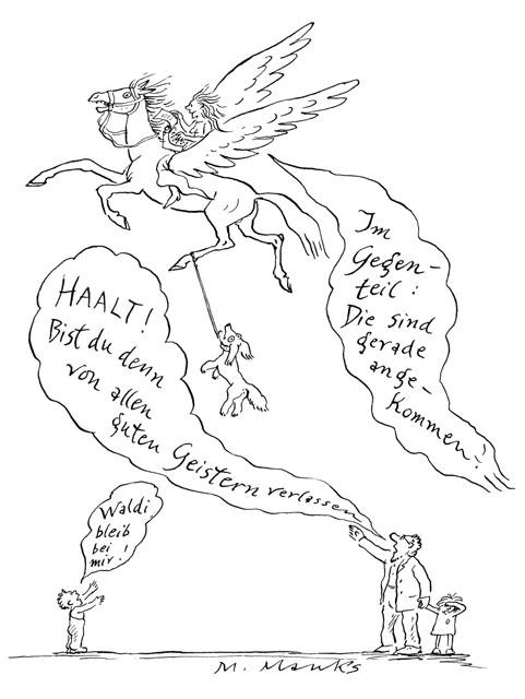 Junge Frau auf Pegasus