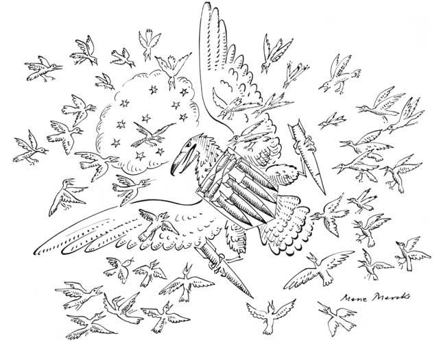Kleine Vögel schlagen Raubvogel in die Flucht