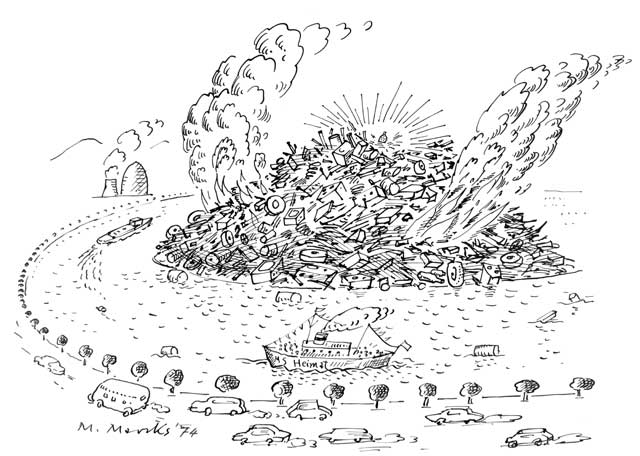 Radioaktiver Müllberg in Flußbiegung