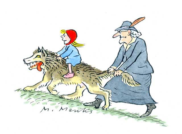 Rotkäppchen reitet auf Wolf