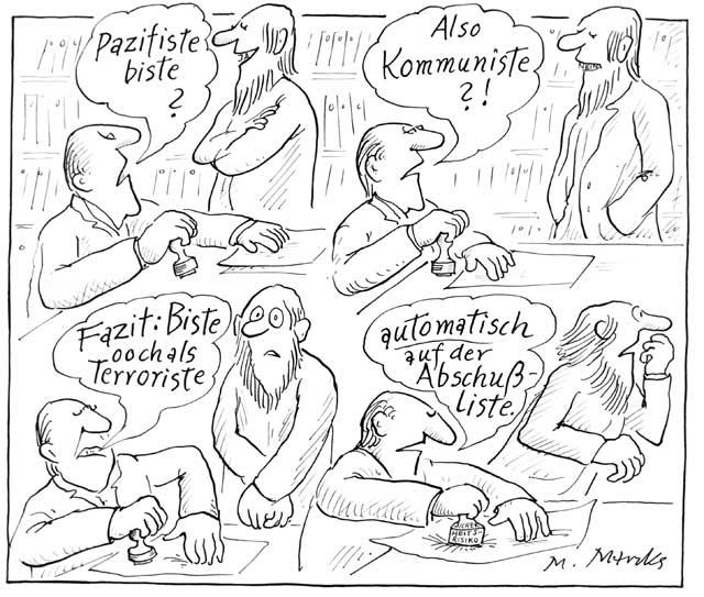 """""""Pazifiste biste? Also Kommuniste"""" oder: Sicherheitsrisiko"""